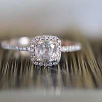 champagne peach sapphire Diamond Rose gold ring, engagement ring, 0.72 carat p177