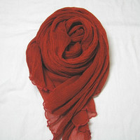 Vintage 1980s Long Rust Crinkle Sheer Scarf, 22 x 58 Inches, Great Fall Scarf, ~~by Victorian Wardrobe