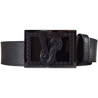 Versace Jeans Men's Black Leather Buckle Logo Belt RRP £135