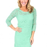 Mint To Live Lace Scalloped Dress | Monday Dress Boutique
