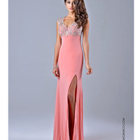 Nina Canacci 1094 Peachy Pink V NecK Gown 2015 Prom Dresses