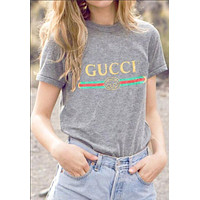 GUCCI Fashion Scoop Women Men Loose Print Round Neck Tunic Shirt Pullover Top Blouse I