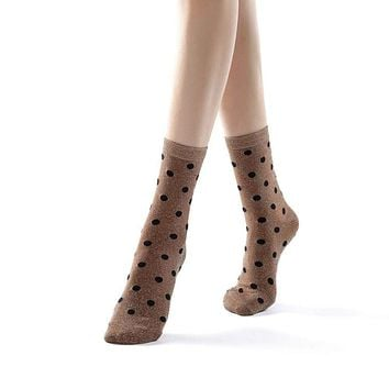 Polka Party Glitter Ankle Sock | Gold