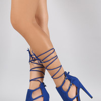 Qupid Perforated Gladiator Lace Up Open Toe Heel