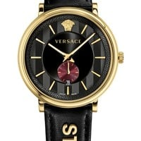 Versace Manifesto - Strength Leather Strap Watch, 42mm | Nordstrom