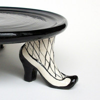 Sexy Cake Stand with Fishnet Stockings and by JMNPOTTERY on Etsy