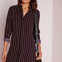 Missguided - Collarless Stripe Shirt Dress Navy/Red