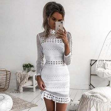 Lace Up Hollow Out Mini Dress