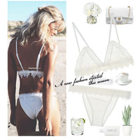 Sexy Strap Hollow Out Lace Up Beach Underwear Lingerie Set