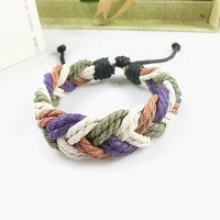 Cuff Braided Leather Bracelet With Rope Adjustable