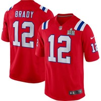 Youth New England Patriots Tom Brady Nike Red Super Bowl LII Bound Game Jersey Special Event Item