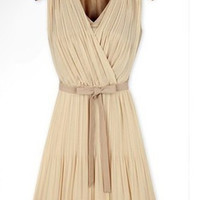 Apricot Sleeveless Pleated Chiffon Dress