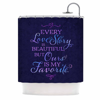 """Noonday Design """"Every Love Story Is Beautiful"""" Blue Purple Shower Curtain"""