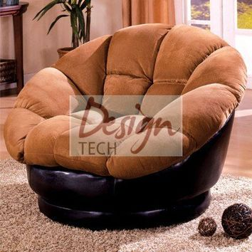 Plush Tan Microfiber Leather Large Swivel Oversize Saucer Chair Loveseat Lounger on eBay!