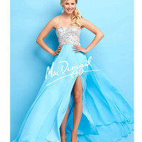Side Cutouts Strapless Sky Blue Gown