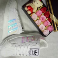"""""""Adidas"""" Fashion Reflective Shell-toe Flats Sneakers Sport Shoes Laser PINK"""