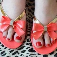 Diamante Bow Jelly Sandals - Coral Pink Flip Flops from Fashion Thirsty