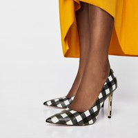 CHECKED HIGH HEEL COURT SHOES DETAILS