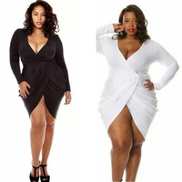 Women's Plus Size Deep V-Neck Draped Ruched Pure Color Dress Sexy Package Buttocks Dress = 1956845188