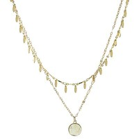 2 Layer Leaf Chain Circle Druzy Necklace
