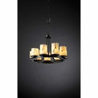 Justice Design Group FAL-8766-12-DBRZ Dakota Dark Bronze Nine-Light Ring Chandelier - (In Dark Bronze)