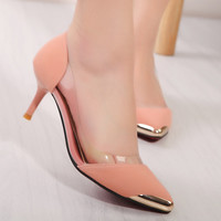 Cute Gold Tip Kitten Heels