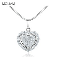 MOLIAM New Arrival Double Heart Love Pendant Necklace for Women Silver/Gold-Color Cubic Zirconia Jewlery MLP059