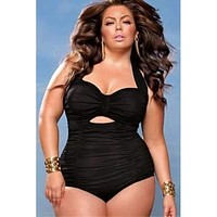 Women Beach Bathing Suit Swimsuit Sweetheart Neck Ruched One-piece Swimwear  Plus Size