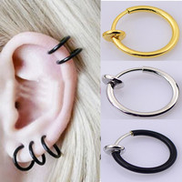 New Fashion 1 pair Clip On Fake Nose Hoop Ring Ear Septum Lip Navel Earrings Body Non Piercing Black Jewelry Christmas