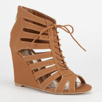 Bamboo Royce Womens Wedges Cognac  In Sizes