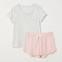 Pajama Top and Shorts - from H&M