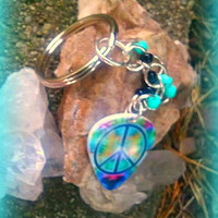 Peace Sign Key Ring,Cool Car Accessory,Bohochic Key Ring,Hippie Key Ring,Back to School Accessories, Peace Sign Accessories,Direct Checkout