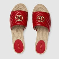 GUCCI Leather espadrille sandal-1