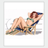 Deck Chair Vintage Pin Up Girl Poster Print