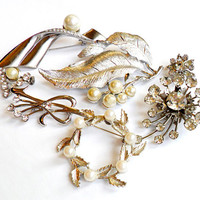 Vintage Flourish Brooch Lot - Silver Tone - Rhinestone Faux Pearl - Brooch Bouquet - Wedding Supplies Signed Marked - Leaves