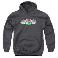 FRIENDS/CENTRAL PERK LOGO-YOUTH PULL-OVER HOODIE-CHARCOAL