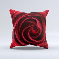Layered Red Rose  Ink-Fuzed Decorative Throw Pillow