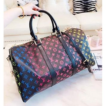 Inseva LV Louis vuitton fashion hit men and women classic gradient letters large capacity hand luggage bag