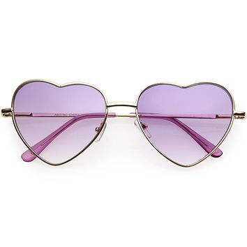 Sweet Color Gradient Rainbow Fashion Metal Heart Sunglasses D206
