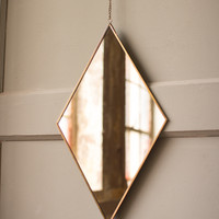 Diamond Brass Finish Wall Mirror With Chain