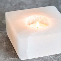 Selenite Square Candle Holder