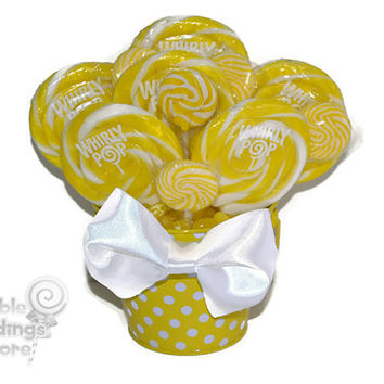 OOAK Yellow lollipop arrangement, Yellow candy arrangement, yellow candy buffet, yellow, candy, lollipop, baby shower, its a girl, baby girl