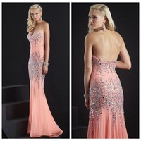 Sexy Beaded Long Prom dress Ball gown Formal Evening Party wedding Dress Custom