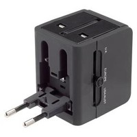 Lewis N. Clark® Global Adapter with 2.4A Dual USB Charger - Black
