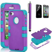 Amazon.com: Pandamimi ULAK Purple Hybrid High Impact Case Cover Magenta / Blue Silicone for iPhone 4 4S with Screen protector and stylus: Cell Phones & Accessories