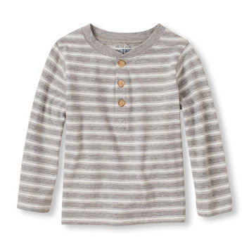 Toddler Boys Long Sleeve Striped Henley | The Children's Place