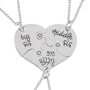 Best Friends Necklace For 3 Big Sister Sis Punk Classic Friendship Birthday Gifts Heart Charm Pendant Necklaces Family Jewelry