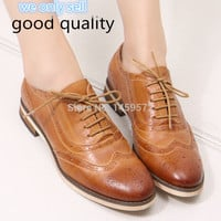Women Brogue Shoes 2017 Brand New Genuine Leather Women Lace-up Casual Flats Bullock Shoes for Women Oxford Shoes Women A068-1