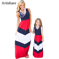 Artishare Mom And Daughter Dress Patchwork Bohemian Family Look Summer Sleeveless Mom And Daughter Dresses For Mother Daughter