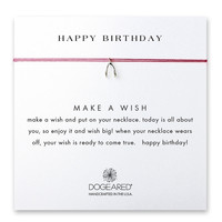 Dogeared, Happy Birthday Wishbone Red Silk Necklace, Sterling Silver 16 inch